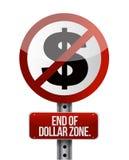 Signe de circulation routière avec une extrémité de zone dollar Photo stock