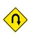 Signe de circulation routière de virage d'U Images libres de droits