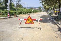 Signe de courses sur route Images stock
