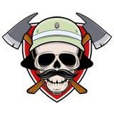 Signe de cr?ne de sapeur-pompier avec le casque et la hache de bouclier illustration stock