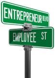 Signe de décision économique d'entrepreneur des employés illustration stock