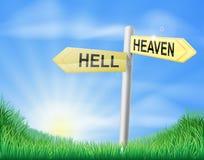 Signe de décision de ciel ou d'enfer Photos stock