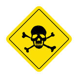 Signe de danger avec le symbole de crâne Signe mortel de danger, panneau d'avertissement Photo libre de droits