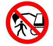 Signe de danger d'excavatrice On l'interdit de passer ou rester dans la marge des machines de terrassement Photographie stock libre de droits