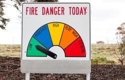 Signe de danger du feu de Bush Images libres de droits