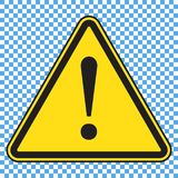 Signe de danger, icône de danger, signe jaune de triangle avec la marque d'exclamation illustration stock