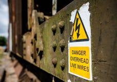 Signe de danger de l'électricité vu fixé à un vieux bon train ferroviaire photos stock