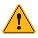 Signe de danger Point d'exclamation sur un fond blanc Illustration de vecteur Photographie stock libre de droits