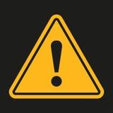Signe de danger Point d'exclamation sur un fond noir Illustration de vecteur Photo stock