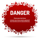 Signe de danger réglé dans la bannière de nuage Photographie stock libre de droits