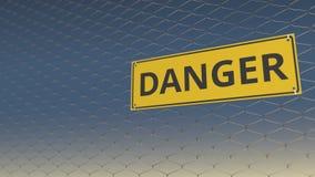 Signe de DANGER un grillage de maillage contre le ciel, animation 3D illustration libre de droits