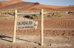 Signe de Deadvlei Images stock