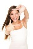 Signe de doigt de trame de femme Photos stock