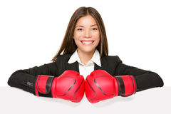 Signe de femme d'affaires - gants de boxe photographie stock libre de droits