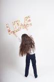 Signe de fiancée de jour de valentines d'amour d'enfant de fille Images libres de droits