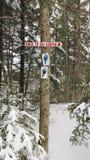 Signe de flamme de raquette cloué à l'arbre image libre de droits