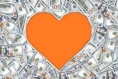 Signe de forme de coeur avec 100 billets de banque du dollar fond de concept de valentine Images libres de droits
