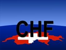 Signe de franc suisse avec la carte illustration libre de droits