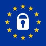 Signe de GDPR avec le drapeau européen Photo libre de droits