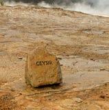 Signe de Geysir près d'attraction touristique populaire en Islande Photos stock