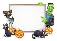 Signe de Halloween avec la batte et le Frankenstein Photos stock