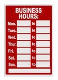 Signe de heures de travail Photographie stock