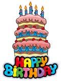 Signe de joyeux anniversaire avec le gâteau grand illustration libre de droits