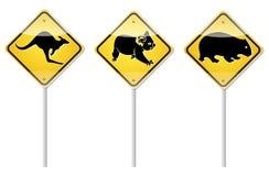 Signe de kangourou de signe de Wombat et signe de koala Photo libre de droits