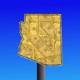 Signe de l'Arizona avec l'argent comptant Images libres de droits