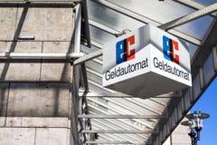 Signe de l'EC à la banque allemande Photo libre de droits