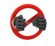 Signe de l'interdiction - un crime 3d rendent D'isolement sur le blanc Photographie stock libre de droits