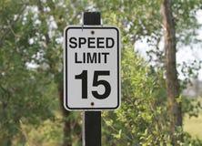 Signe de la limitation de vitesse 15 Photographie stock libre de droits