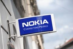 Signe de la mémoire de NOKIA à Helsinki Photos stock