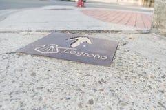 Signe de la manière du ` s de St James dans Logrono photographie stock