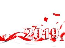 Signe de la nouvelle année 2019 avec le présent d'isolement sur le blanc photo libre de droits
