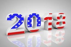 Signe de la nouvelle année 2018 comme drapeau des Etats-Unis rendu 3d Photo libre de droits