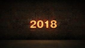 Signe de lettre de la lumière 2018 de chapiteau, nouvelle année 2018 rendu 3d illustration stock