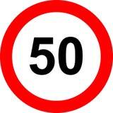 Signe de limitation de la vitesse cinquante Images libres de droits