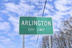 Signe de limite de ville d'Arlington image libre de droits