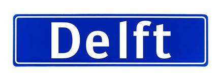 Signe de limite de ville de Delft, Pays-Bas image stock