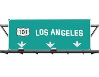 Signe de Los Angeles d'autoroute de 101 Hollywood Image libre de droits
