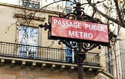 Signe de métro Photo stock