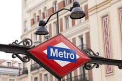 Signe de métro Photographie stock libre de droits