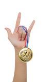Signe de main d'amour avec la médaille d'or Image libre de droits