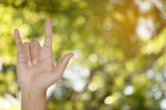 Signe de main d'amour avec le fond abstrait de tache floue de bokeh de nature Photo libre de droits