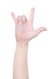 Signe de main d'amour d'isolement sur le blanc Photo libre de droits