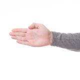 Signe de main d'isolement sur le fond blanc Photo stock