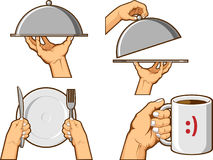 Signe de main de nourriture - plateau de portion et tasse de participation Images stock