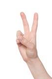 Signe de main de victoire Photos libres de droits