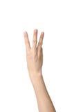 Signe de main du numéro trois Photographie stock